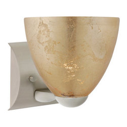 Besa Lighting - Besa Lighting 1WZ-7572GF-LED Sasha 1 Light LED Bathroom Sconce - Sasha II has a classical bell shape that complements aesthetic, while also built for optimal illumination. Our Gold Foil glass is sparkling and metallic. Distressed metal foil is applied to the inner surface of a glossy clear blown glass. This decor is full of textured and depth, however the outer surface of the glass is smooth. When lit the glass comes to life, as the distressed foil allows glimpses of light to pass through. This blown glass is handcrafted by a skilled artisan, utilizing century-old techniques passed down from generation to generation. Each piece of this decor has its own artistic nature that can be individually appreciated. The minis once fixture is equipped with a sleek arcing die cast lamp holder and matching radiused rectangular canopy.Features: