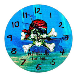 USA - Pirates Life Wall Clock - Enjoy passing time with my dye sublimated art work on a beautiful 11.25'' hard board clock with a wonderful glossy finish. Clocks are a durable 1/4 '' thick and require a AA battery not included. Made in the USA.