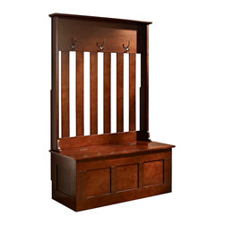 Crosley - Ogden Entryway Hall Tree, Mahogany - Clean up your busy entryway with the Ogden entryway storage bench. This bench features hooks for hanging jackets and backpacks along with storage for shoes, scarves, mittens and hats.