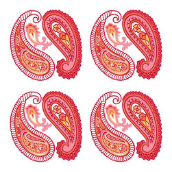 Brewster Home Fashions - Paisley Please Wall Stickers Pink Red Accents - FEATURES: