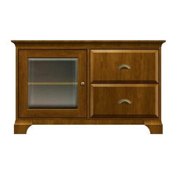Howard Miller Custom - Dora Cabinet in Saratoga Cherry - This cabinet is finished in Saratoga Cherry on select Hardwoods and Veneers, with Antique Brass hardware. 1 door with beveled Glass. 2 raised panel drawers. 1 adjustable interior shelf. Cove profile top and cove profile base. Hardware: knobs on door and cup pulls on drawers. Features soft-close doors, metal drawer glides, and metal shelf clips. 50 1/4 in. W x 17 in. D x 31 in. H