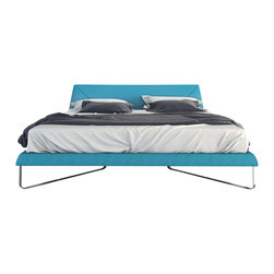 Modloft - Irving Caneel Bay Blue Platform Bed - Slumber in simple yet sophisticated style with the Irving Bed. Softly angled polished flat steel legs contrast with luxurious Novatex upholstery made of poly/cotton/viscose/linen blend. Solid pine slats sit inside the bed frame and allow air to circulate beneath the mattress. No box spring necessary. Mattress not included. Available in Eastern (Standard) King and Queen sizes.Features: