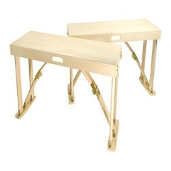 "Spiderlegs - Spiderlegs B3813-NB Hand Crafted Folding Bench Set of 2 in Natural Birch - Spiderlegs Custom Crafted portable wooden folding set of two benches, with an original folding design and patented locking hardware. Crafted from Cabinet Grade Baltic Birch wood and finished in a Natural Birch with a polyurethane top coat for a fine furniture finish. Each Bench is designed to accommodate up to two adults with a recommended load limit of 300lb. Each bench folds flat and two benched clasp together for easy storage and has its own built in handle for easy for transport. The folded dimensions are 38"" x 12.875"" x 4.75"". The locking hinges prevent each bench from unintentionally folding when opened. Hinge locks may be easily released by pressing the solid brass lock buttons between the thumb and a finger. Each bench may be used indoors or outdoors and is built comfortable 18 inches high, and is designed to match Spiderlegs folding picnic table. The benches may be used with or without the picnic table, and, since they are not attached to the picnic table, may be moved around separate from the table. Also often used as low table such as an RV coffee table. Can be store under a bed, stand up in a coat closets, car trunk, RV bins, etc. Clean with a damp cloth. Renew wood surfaces with wood care products. US Patent numbers 6,779,466 and 7,337,728. The bench set includes a full one year warranty. Folding Bench (2)"