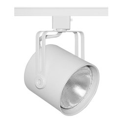 Juno Lighting - Trac-Master T425 Mini PARs Flat Back PAR30 Track Light, T425w-Wh - Designed especially for halogen PAR lamps. The Mini-PAR's compact shape and slotted yoke make it ideal for today's high styled applications.