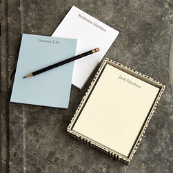 Ballard Designs - Classic Personalized Notepads, Small - Set of 4 - Each pad has 50 pages. Available in three colors. Use these Small Personalized Notepads everywhere from work to home to-do lists. Designed to fit Bunny Williams notepad holders, each set of four comes wrapped with a grosgrain ribbon, so it makes a great gift. Classic Small Notepad features:. . *Free Monogramming available.*Allow 3 to 5 days for monogramming plus shipping time.*Please note that personalized items are non-returnable.