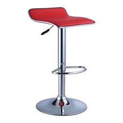 "PWL208-847 - Set Of 2 Red Faux Leather / Chrome Thin Seat Adjustable Height Bar Stool - Set of 2 Red faux leather / Chrome Thin Seat Adjustable Height Bar stool .  The Thin Seat Bar stool is a unique, contemporary addition to your home. The backless curved faux leather seat, round sturdy footrest and height adjustable lever provides both style and function. An eye-catching, versatile red and chrome easily complements your home's existing decor. Seat adjusts with a gas-lift mechanism. 300 pound weight capacity. BIFMA 5.1 and EN1335 standard testing passed and approved. Bar stool measures:  14-3/4"" x 13-1/2"" x 26""-34-1/4"" tall.  Some assembly required.  Material Content: Red PU, faux leather & Chrome steel."