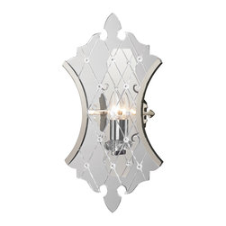 "Elk Lighting - Elk Lighting Radelle Collection 1 Light Sconce In Polished Nickel - 31400/1 - 1 Light Sconce In Polished Nickel - 31400/1 in the Radelle collection by Elk Lighting Classical motifs is the new chic. Enabling a truly ""transparent"" design, thick sheets of clear acrylic are laser cut into a detailed neo-classical silhouette.  Crosshatched lines are also etched into the acrylic panels with crystals embedded at their intersections to enhance the presence of the collection.  A minimalistic Polished Nickel finished frame clasps only the edges of the acrylic keeping a transparent, edgy style.  These items are also available with side-lit RGB LED lights as a special order.  Wall Sconce (1)"