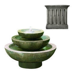Campania International - Platia - Alpine Stone (AS) - Shipping is available throughout the continental United States. As these fountains are made to order, please allow 4 to 6 weeks for delivery. Drop ship is curbside delivery only.  And finally: Campania has other finishes, these are just the ones that Potted likes best.