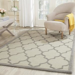 Safavieh - Safavieh Cambridge CAM134Y 9' x 12' Ivory, Silver Rug - Bring classic style to your bedroom, living room, or home office with a richly-dimensional Safavieh Cambridge Rug. Artfully hand-tufted, these plush wool area rugs are crafted with plush and loop textures to highlight timeless motifs updated for today's homes in fashion colors.