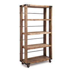 Newcomb Wide 4 Level Shelf Distressed Natural - Elm Wood and Metal Wide 4 Level Shelf in Distressed Natural