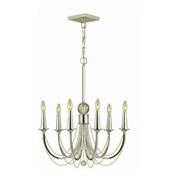 """AF Lighting - AF Lighting 7701-6H Candice Olson """"Shelby"""" Six-Light Chandelier with Clear Bead - AF Lighting 7701-6H Candice Olson """"Shelby"""" Six-Light Chandelier with Clear Bead Accents, Finished in ChromeAF Lighting 7701-6H Features:"""