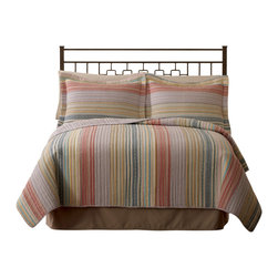 Pem America - Retro Stripe Pastel King Quilt - Our Retro Chic Pastel is as comfortable as that favorite pair of blue jeans.  The yarn dyed colors woven together give a stylish look that suits you.  The casual nature of this pattern assures you a pleasant nigh and a stylish day. King Quilt measures 100 inches by 90 inches. 100% Cotton face and back cloth and prewashed.. Filled with 94% cotton / 6% other fibers. Machine washable.