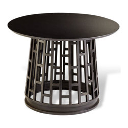 Kathy Kuo Home - Paulo Raw Steel Modern Entry Pedestal Table - The bold enthusiasm of Mid Century Modern design touches upon many influences, yet somehow remains spare and subtle like this black foyer table.  Constructed from raw steel with an oxidized finish, the Paulo table works seamlessly within a variety of modern spaces, but is also quite at home in Asian contemporary environments.