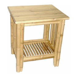 "Bamboo54 - Bamboo Fancy Side Table - Fancy bamboo side table features a flat bamboo surface on top with a magazine rack on the bottom. Can also be used as a night stand. Measures 22"" W x 18"" D x 24""T, some assembly required."