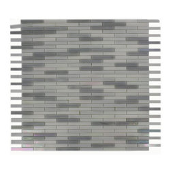 """Matchstix Snowflake Glass Tile - MATCHSTIX SNOWFLAKE GLASS TILE This stunning mosaic is handcrafted in stained glass. With the combination of white, a hint of gray and a purple iridescent coating, this glass tile will give a luminescent quality to any bathroom, kitchen or pool installation. Add a pop to any room with these beautiful tiles that are versatile. Chip Size: 1/4""""x 2"""" Color: White, Hint of Gray with Purple Iridescent Coating Material: Stained Glass Finish: Stained Sold by the Sheet - Each sheet measures 12""""x12"""" (1 sq. ft.) Thickness: 3mm - Glass Tiles -"""