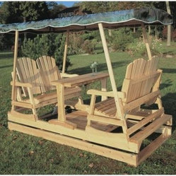Rustic Natural Cedar Furniture Deluxe Wooden Garden Glider - Get into the swing of things with this Deluxe Wooden Garden Glider. You'll never be alone when you have this in your yard! It is a visual outdoor focal point and encourages family fun and peaceful relaxation. The Deluxe Garden Glider is designed with two individual glider benches that offer plenty of room to comfortably accommodate four individuals. These seats are secured atop a sturdy base that is designed with a gliding mechanism to make a smooth rhythmic motion. A narrow rectangular table is located in the center of the glider frame creating a practical place for drinks. For additional leg room, this center table can easily be removed at your convenience. The four slanted poles that stretch upward from the corners of this glider will support the canopy of your choice for extra comfort. This glider is crafted with a durable Northern White Cedar, which is a natural choice for any outdoor decor. Cedar has a firm structure and a richly textured grain to retain natural oils. The oils act as a preservative, and help the wood resist insect damage and decay, making it suitable for high moisture areas. The Deluxe Garden Glider may be used indoors or out, and may be painted or stained as desired. Some assembly required. About Rustic Natural Cedar Furniture Co.Rustic Natural Cedar Furniture Company has been manufacturing quality cedar products for your home and garden for over 30 years. Their broad variety of products include bedroom sets, tables and seating groups, gliders, rockers, swings, arbors and more. Their fine furnishings are handcrafted in Quebec and British Columbia, then shipped worldwide for your enjoyment. The Rustic Natural brand is their promise. When you see this brand, you know you're getting superior quality and the strength of natural cedar. Nothing equals the sturdy construction and sanded finish of their quality products. Long-lasting good looks and low maintenance makes cedar the natural choice for your home and garden. Thanks to its added benefits of beauty and comfort, cedar is an ideal choice for any setting.