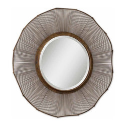 "Grace Feyock - Grace Feyock Temecula Contemporary Round Mirror X-55721 - This Over-sized Mirror Features A 15"" Wide, Hand Forged Metal Frame Finished In Distressed Rust Brown With Aged Black Undertones And Bronze Highlights. Mirror Has A Generous 1 1/4"" Bevel."