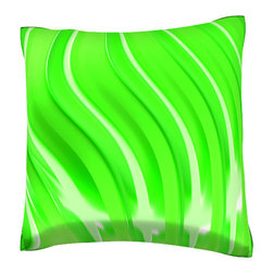 Custom Photo Factory - Green Linear Pattern Pillow.  Polyester Velour Throw Pillow - Green Linear Pattern Pillow. 18 Inches x 18  Inches.  Made in Los Angeles, CA, Set includes: One (1) pillow. Pattern: Full color dye sublimation art print. Cover closure: Concealed zipper. Cover materials: 100-percent polyester velour. Fill materials: Non-allergenic 100-percent polyester. Pillow shape: Square. Dimensions: 18.45 inches wide x 18.45 inches long. Care instructions: Machine washable