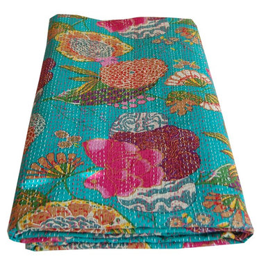 Indian Kantha Printed Throw - Kantha embroidered throw/bedspread in bright turquoise tropical print. This colourful double stitched ethnic cotton quilt is printed in a fruit and floral design in vibrant colours and hand-stitched in the Kantha style to create a great texture. Matching cushion covers are available.