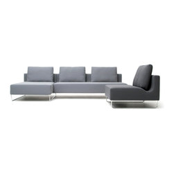 Bensen - Bensen Canyon Sectional 1 - Canyon incorporates new construction processes and manufacturing procedures. Conventional sofas are assembled using wood frames onto which springs can be mounted and fabric stapled. In contrast, Canyon combines a welded steel frame with contoured foam, woven synthetic strapping and removable or replaceable covers.