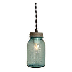 Barn Light Electric - Vintage Ball Perfect Blue Mason Jar Pendant - A unique use for an old farmhouse item; Ball Perfect Mason Jars have taken the form of industrial lighting! Removed from their original use, these re-purposed jars are sure to add a vintage look your industrial loft, farmhouse, or coastal setting