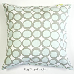 "See Design - Pillow Cover, Egg Grey/Seaglass - These pillow covers are a great addition to any room in the home. The colorful See Design patterns freshen up your decor instantly. Made of 100% cotton canvas, these covers have a concealed zip closure in the back for easy access and cleaning. The pillow cover measures 20"" square."