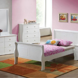 Acme Furniture - Nebo White Wave Shaped Youth 5 Piece Twin Bedroom Set - 30085T- - Set includes Twin Bed, Dresser, Mirror, Nightstand and Chest