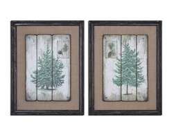 Uttermost - Evergreens Vintage Art Set of 2 - Images are printed on boards then mounted on medium, sand colored linen fabric. Frames are heavily distressed in black with medium brown undertones and a gray wash.