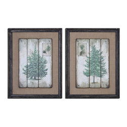 Uttermost - Evergreens Vintage Art S/2 - Images Are Printed On Boards Then Mounted On Medium, Sand Colored Linen Fabric. Frames Are Heavily Distressed In Black With Medium Brown Undertones And A Gray Wash.