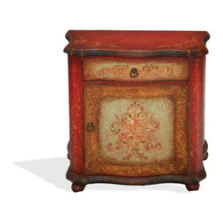 Koenig Collection - Mediterranean Nightstand Vally, Distressed Fresco Red, Turquoise, And Scrolls - Mediterranean Nightstand Vally, Distressed Fresco Red, Turquoise, and Scrolls