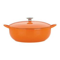 Mario Batali by Dansk Classic 7.5 qt. Stew Pot - Persimmon - Everyone needs a good stew pot, but the Mario Batali by Dansk Classic 7.5 Sq. Stew Pot in Persimmon is much more than that. While the sassy persimmon enamel is beautiful enough for table service, it's the hard-working properties of cast iron on the inside that make this stew pot your go-to kitchen essential. Safe for gas, electric, induction, or ceramic-top stoves, and even the dishwasher. Makes a great wedding or first home gift!