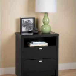 Prepac Series 9 Designer 2-Drawer Tall Nightstand - Black - As functional as it is stylish, the Prepac Series 9 Designer 2-Drawer Tall Nightstand - Black is a perfect bedside companion. This nightstand has sleek, modern lines, two spacious drawers, and an open cubby. The drawers open on smooth metal glides, have built-in safety stops, and are decorated with chromed metal pulls. The open cubby and generous top are perfect for keeping nighttime essentials close at hand. The tall nightstand is made of a combination of solid wood and CARB-compliant, laminated composite woods. Its deep black finish works with virtually any decor.About Prepac ManufacturingPrepac is a successful designer and manufacturer of functional and stylish RTA (ready to assemble) home furniture. They have been manufacturing state-of-the-art home furnishings and storage products in the heart of the forest-rich West Coast since 1979.
