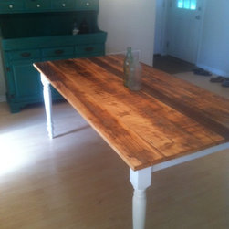 "Custom Furniture - Farm style dining table. Reclaimed cypress top. 60""x36"""