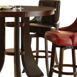 "Steve Silver Furniture - Steve Silver Brooks Swivel Bar Stool w/ Brown Vinyl Upholstery [Set of 2] - The cool contemporary style of the Brooks Collection makes a bold statement in any room, from the dining room to the lounge to a stylish family room. The brown swivel bar stool has a dark wood base and a comfortable, high back vinyl upholstered swivel seat. The bar chair measures 22""W x 24""D x 45""H and is also available in Green, Red and Taupe -- Mix or match them to suit your personal style."