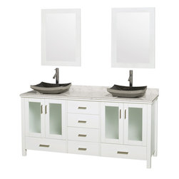 "Wyndham Collection - Lucy Vanity in White, White Carrera Top, Altair Black Granite Sink, 24"" Mirrors - The Lucy double bathroom vanity by Wyndham Collection is as beautiful as it is functional. The modern design puts a visual emphasis on clean lines, luxurious natural marble, abundant storage for two, and is at home in almost every bathroom decor. Included in the Lucy double bathroom vanity are either solid White Carrera Marble or Ivory Marble counters, a multitude of sink options, and a pair of matching mirrors. Featuring soft-close door hinges, you'll never hear a door slam shut again! Sure to inspire imitators, the original Wyndham Collection sets new standards for design and construction."