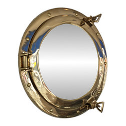 """Handcrafted Model Ships - Brass Porthole Mirror 12"""" - Brass Porthole Mirror - This Brass Deluxe Class Porthole Mirror 12"""" adds sophistication, style, and charm for those looking to enhance rooms with a nautical theme. This porthole mirror has a sturdy, heavy and authentic appearance, and is made of brass and glass which can easily be hung to grace any nautical theme wall. This all brass porthole mirror makes a fabulous style statement in any room with its classic round frame, six metal-like rivets and two dog ears. This marine porthole mirror has an 5"""" diameter and 3"""" deep when dog-ears are attached, 1.5"""" deep without dog ears attached."""