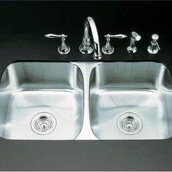 """KOHLER - KOHLER K-3180-NA Undertone Double Equal Undercounter Kitchen Sink - KOHLER K-3180-NA Undertone Double Equal Undercounter Kitchen Sink with 7-5/8"""" Deep Basins"""