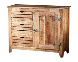 """YOSEMITE HOME DECOR - Sideboard - A new touch on an old favorite. A solid mango wood """"Ice Chest"""" accent console brings a touch of yesteryear home. Bright nickel hinges and handle complete the look. A single door, single inner shelf and three slat front drawers provide ample storage space. Assembled, made in India.  Overall Item Dimension 43""""Wx16""""Dx35""""H"""