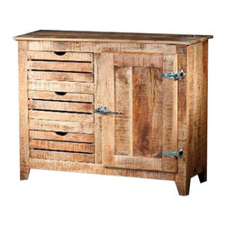 "YOSEMITE HOME DECOR - Sideboard - A new touch on an old favorite. A solid mango wood ""Ice Chest"" accent console brings a touch of yesteryear home. Bright nickel hinges and handle complete the look. A single door, single inner shelf and three slat front drawers provide ample storage space. Assembled, made in India.  Overall Item Dimension 43""Wx16""Dx35""H"