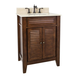 "Hardware Resources - Lyn Design VAN078-T-MC - This 26-1/2"" wide MDF vanity features louvered doors to give this vanity a country flair. The warm nutmeg finish and clean lines lends a contemporary feel. A large cabinet provides ample storage. This vanity has a 2CM Cream marble top preassembled with an H8809WH (15"" x 12"") bowl, cut for 8"" faucet spread, and corresponding 2CM x 4"" tall backsplash. Overall Measurements: 26-1/2"" x 21-3/4"" x 35-3/4"" (measurements taken from the widest point)"