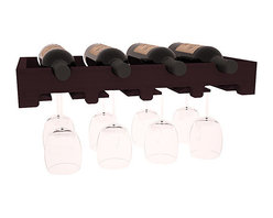 "Wine Racks America - 4 Bottle Scalloped Stemware Wine Rack in Redwood, Burgundy Stain - This rock solid stemware rack installs between our modular wine cellar kits. A 20"" span for hanging crystal or cellar decor. Designed to be installed over Wine Racks America's 48 Bottle Cube Collection, this rack is sure to please. Your satisfaction is guaranteed."