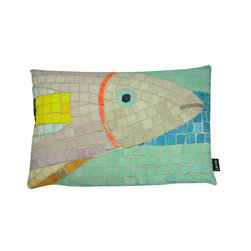 Lava - Fish Mosaic 15 x 23 Pillow (Indoor/Outdoor) - 100% polyester cover and fill. Made in USA. Spot clean only. Safe for use indoors or out.