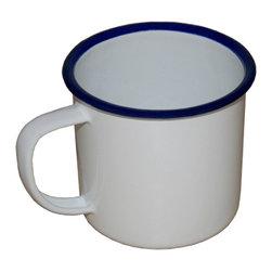 Crow Canyon Home - Vintage-Style Enamelware Coffee Mug, Vintage White with Blue Rim - Vintage Enamelware Coffee Mug Vintage V11 - 12 oz.