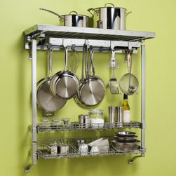 Orginnovations PegRail Pot Rack Deluxe with Baskets - When you are tired of searching for the right equipment and spices before you start cooking, the Orginnovations PegRail Pot Rack Deluxe with Baskets is the perfect rack for you. Now you can have everything you need in one place. Olive oil, salt, spices, pots, and pans - place and hang everything on the 8 hooks, top shelf brackets, and in the baskets.About Orginnovations Inc.With a vast selection of storage solutions for your closets, kitchen, office, utility room, and even your wine collection, Orginnovations Inc. looks to provide the best in quality materials, design, and construction. Their storage solutions are easy to install, functional, stylish, flexible, and deliver heavy duty weight capacity. They have excellent customer service and over 40 authorized dealers throughout the US. They even offer custom sizing on closets.