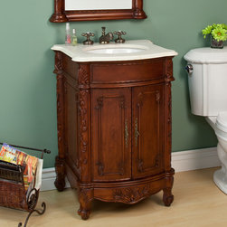 "25"" Duxbury Vanity - Perfect for your powder room, this petite vanity offers exquisite detailing and a bold finish. Featuring a two-door cabinet, the 25"" Duxbury Vanity comes with a solid marble countertop and porcelain undermount sink."