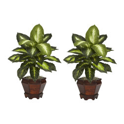 """Nearly Natural - Dieffenbachia with Wood Vase Silk Plant (Set of 2) - The sharp contrasts of the two-tone leaves will definitely draw the appreciative plant lover's eye from anywhere in a room. The bold leaves that make up these silk plants are """"large and in charge"""", and are coupled with an equally impressive planter. Easy to take care of and effortless to manage, this is one set of plants that you'll want to add to your collection. Arrives with two pieces. Colors: Golden; Pot Size: W: 6 in, H: 5.75 in. Height: 20.5 in; Width: 14 in; Depth: 12 in."""