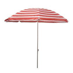Pier Surplus - 6.5' Outdoor Beach Umbrella - Crimson Stripe #UB20168 - Product SKU: UB20168