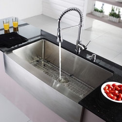 """Kraus KHF200-36-KPF1612-KSD30CH  Farmhouse Sink With Faucet & Soap Dispenser - APPLY COUPON CODE """"EDHOUZ50"""" AT CHECKOUT. JUST OUR WAY OF SAYING THANKS."""