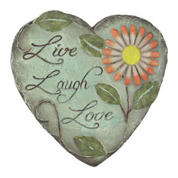 Zeckos - Heart Shaped Live, Laugh, Love Decorative Garden Stone/Outdoor Plaque - This heart shaped decorative garden stone or outdoor wall plaque is inscribed with 'Live, Laugh, Love,' and is sure to brighten any flower bed, porch, or patio. Made of plaster and hand-painted, it measures 9 3/4 inches wide, 10 inches tall, and 5/8 of an inch thick. It mounts to the wall with a single screw, and makes a lovely gift for a friend.