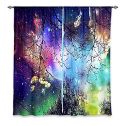 """DiaNoche Designs - Window Curtains Lined by Sylvia Cook Look to the Stars - Purchasing window curtains just got easier and better! Create a designer look to any of your living spaces with our decorative and unique """"Lined Window Curtains."""" Perfect for the living room, dining room or bedroom, these artistic curtains are an easy and inexpensive way to add color and style when decorating your home.  This is a woven poly material that filters outside light and creates a privacy barrier.  Each package includes two easy-to-hang, 3 inch diameter pole-pocket curtain panels.  The width listed is the total measurement of the two panels.  Curtain rod sold separately. Easy care, machine wash cold, tumble dry low, iron low if needed.  Printed in the USA."""